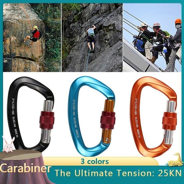 25KN Outdoor Rock Climbing Security Safety Buckle Carabiner Hook Master Lock