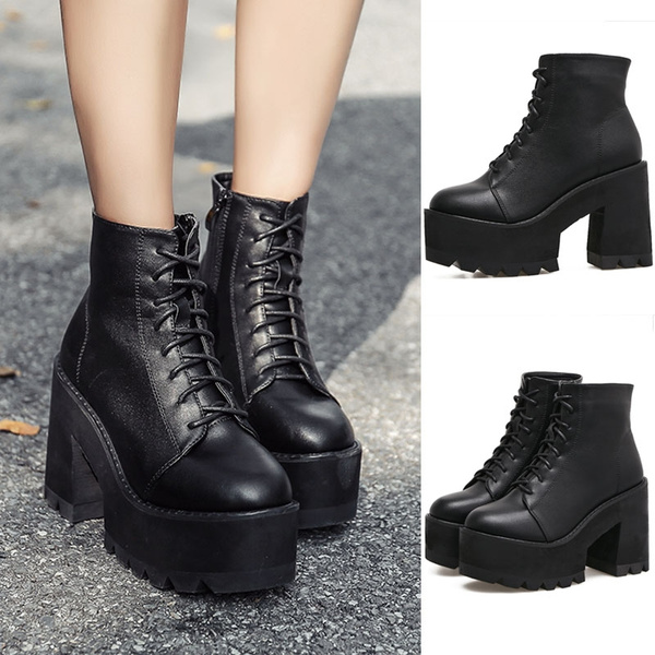 Lace Up Boots Thick Heel Ankle Boots