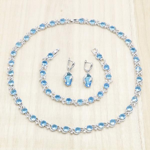 925silverjewelryset, Blues, Exquisite Necklace, Hoop Earring