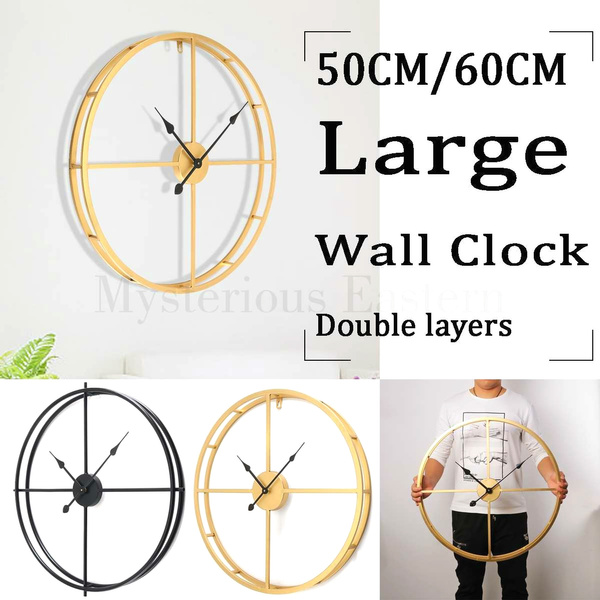 Large Silent Wall Clock Modern Design Clocks For Home Decor Office European Style Hanging Wall Watch Clocks Large Country Style Metal Wall Clock Double Layer Iron Frame Mute Watch For Modern Home