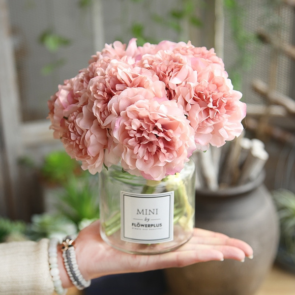 Artificial Flowers Peony Bouquet For Wedding Decoration 5 Heads Peonies Flowers Home Decor Silk Hydrangeas Cheap Flower Not Including Bottle Wish