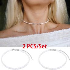 Chain Necklace, Jewelry, whitenecklace, beadedchoker