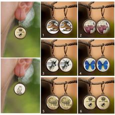 Copper, Hoop Earring, cabochonearring, Jewelry