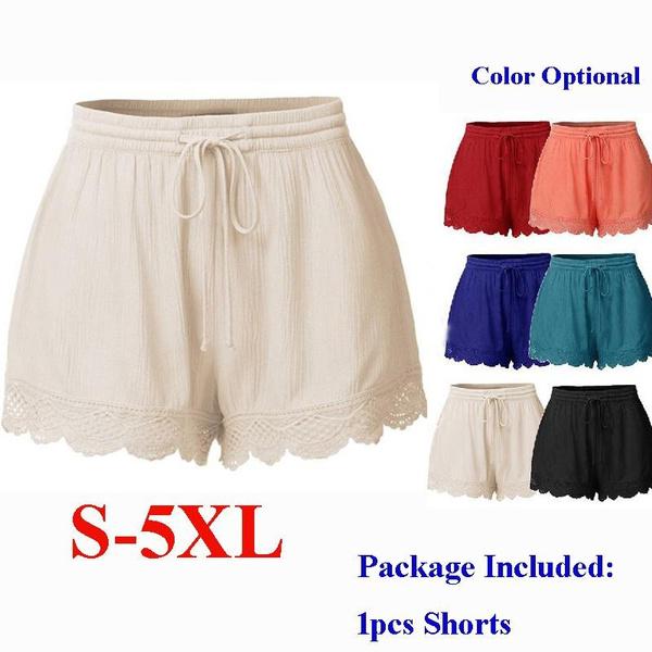 Summer, elastic waist, Lace, pants