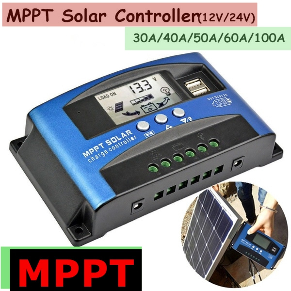 USB MPPT Solar Panel Regulator Charge Controller 30-100A Auto Focus Tracking