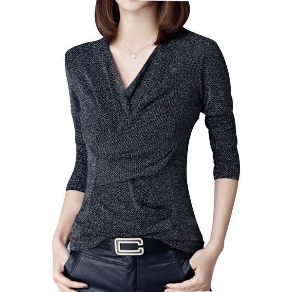 sleeve v-neck, Fashion, knittedlaceblouse, Long Sleeve