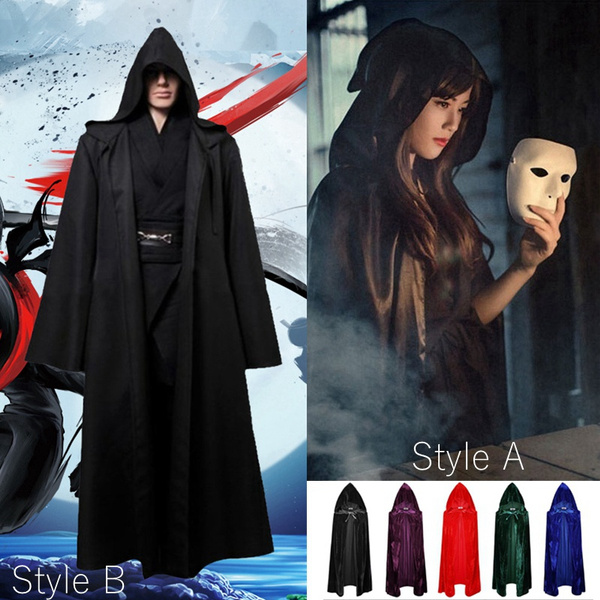 Unisex Mens Women Halloween Cosplay Costumes Gothic Hooded Velvet Cloak Robe Medieval Witchcraft Vampire Samurai Wizard Witch Cape Carnival Costume Party Fancy Dress Wish
