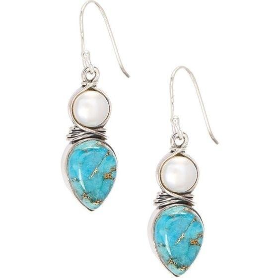 Sterling, Turquoise, pearls, Pearl Earrings