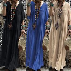 damenkleid, Plus Size, Hollow-out, women_maxi_dress