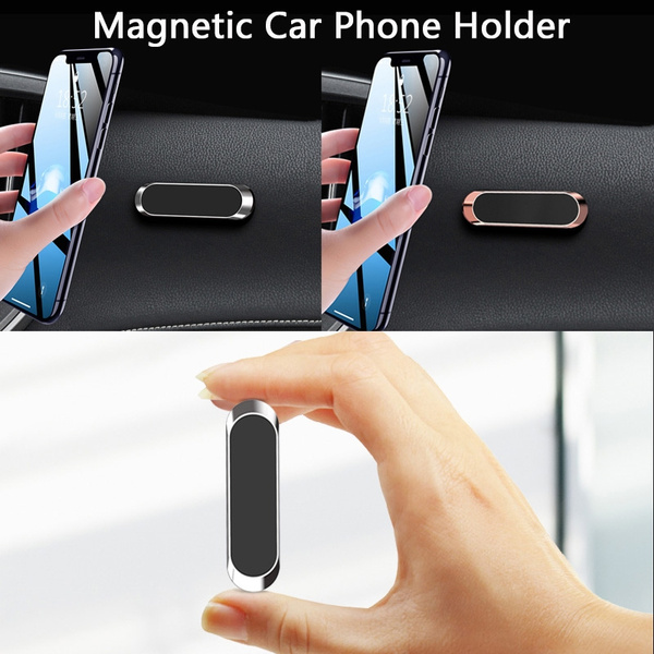 Mini Magnetic Car Phone Holder Stand Strip Shape Metal Magnet Car Mount Holder Dashboard Anti Scratches Reusable For Wall Wish