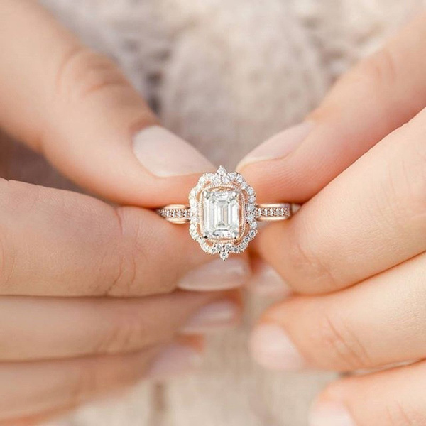DIAMOND, Princess, wedding ring, giftring