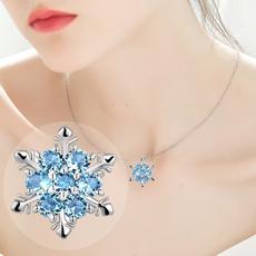 Blues, dimaondnecklace, snowflakenecklace, women necklace