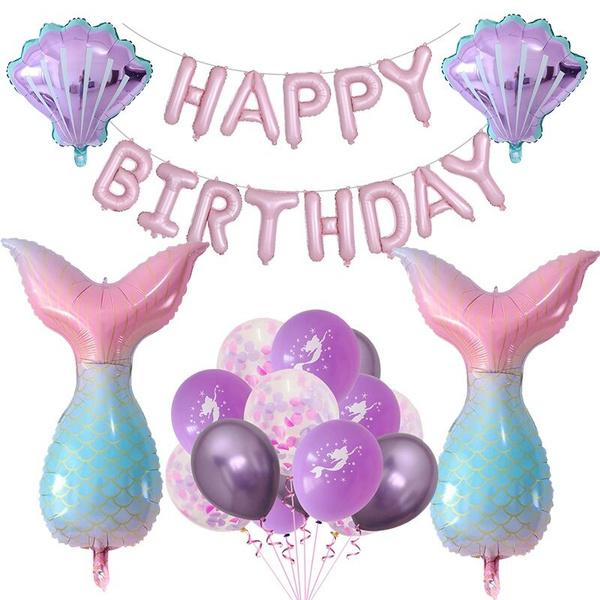girlbirthdayballoon, mermaidparty, babyshowerdecoration, Aluminum