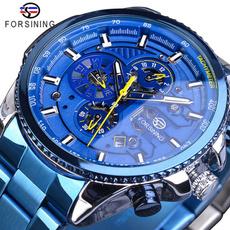 Blues, automaticmechanicalwatch, Fashion, Waterproof Watch