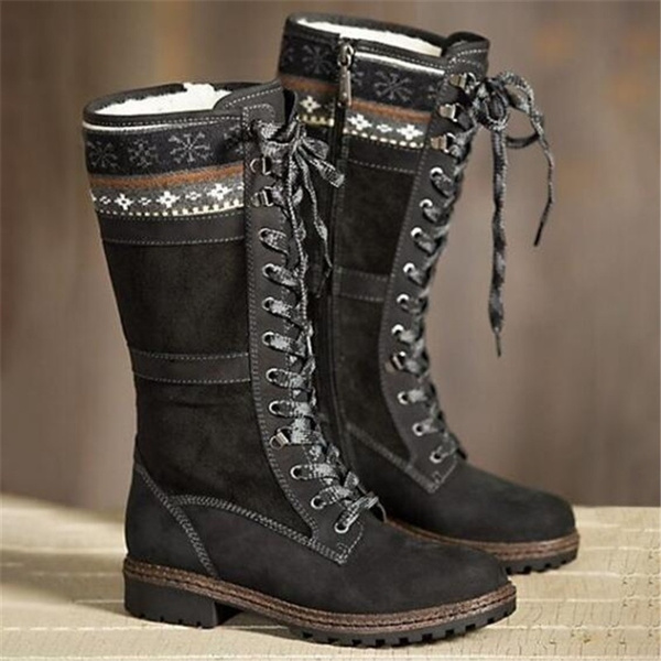 Leather Boots Lace Up Snow Boots