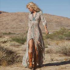 long dress, Dress, fifthsleevedre, boho
