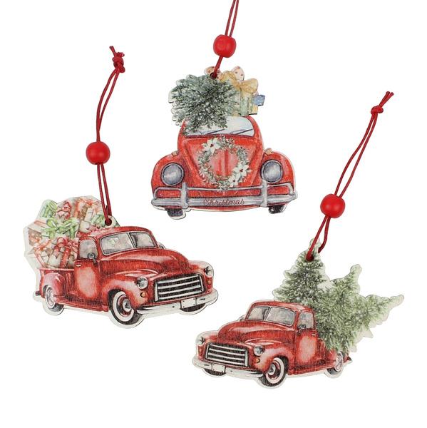 redtruckchristmasornament, woodchristmastreeornament, Christmas, Wooden