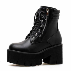 ankle boots, platformboot, Motorcycle, Leather Boots