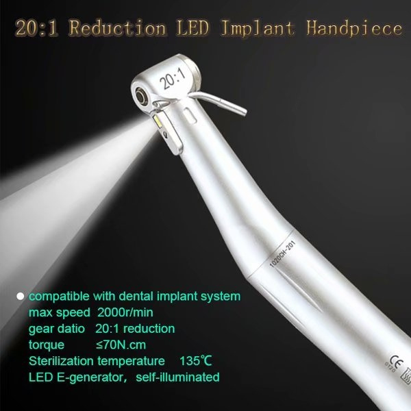 implanthandpiece, contraangle, led, dental