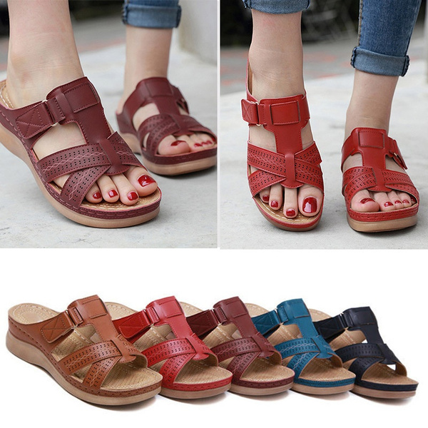 red orthopedic sandals
