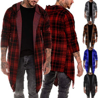 2019 Men's Long Cardigan Jacket Casual Plaid Robe Hooded