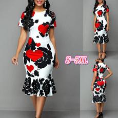 Heart, Shorts, Sleeve, floralprintdres