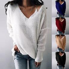Plus Size, long sleeve blouse, Tops, V-neck