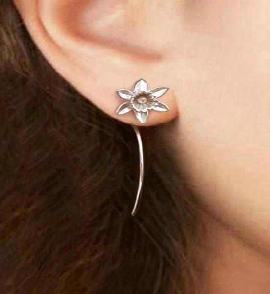 Sterling, cute, 925 sterling silver, daffodilflowerearring