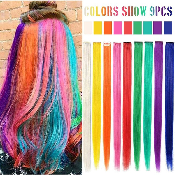 Hayami 14PCS Princess Colorful Extensions Multi-Colors Party Highlights Streak Synthetic Hairpieces Clip-In//Clip On Colored Hair Extensions Rainbow