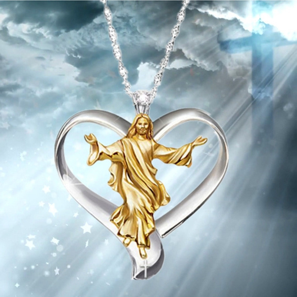 crucifixnecklace, Cross necklace, gold, Heart