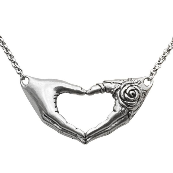 Creative Retro 316l Stainless Steel Hand Bones Than Heart Carved Rose Necklace Men And Women Fashion Punk Gothic Jewelry Wish