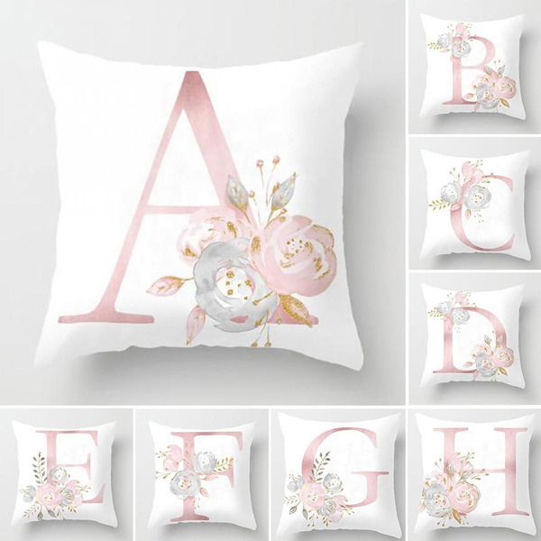 Letter Pink Floral Printing Pillow Case Throw Cushion Cover Sofa Home Decor Dw