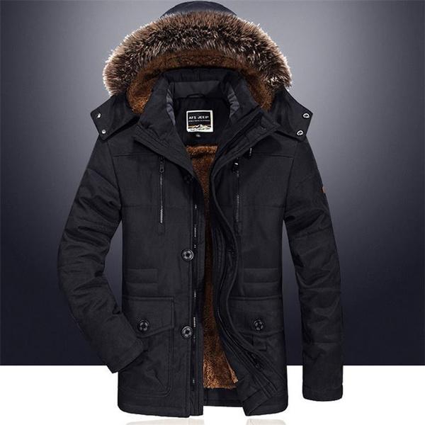 Men/'s Casual Coat Outwear With Velvet Jacket Winter Warm Hooded Long Windbreaker