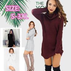 Mini, collar slim, Women Sweater, Knitting