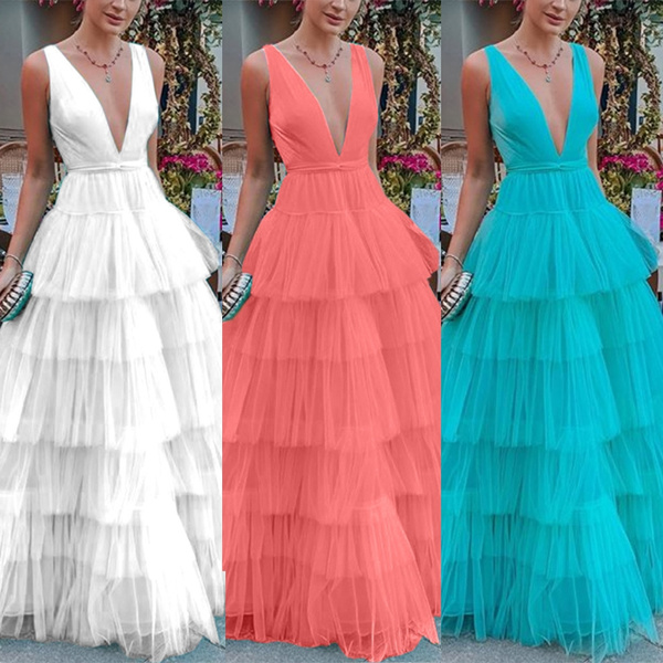 sleeveless, Deep V-neck Dress, long dress, Dress
