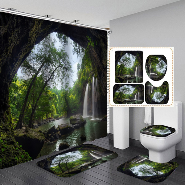 treeandwaterfallshowercurtain, Shower, Bathroom, Bathroom Accessories