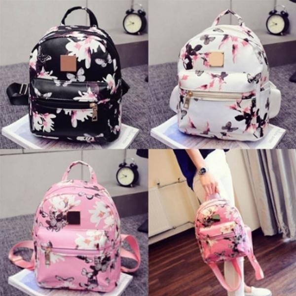 School, Floral, rucksack, leather