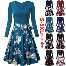 Plus Size, pleated dress, Encaje, Long Sleeve