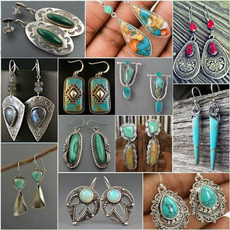 aretesmujer, Turquoise, Fashion, Sterling Silver Earrings
