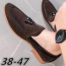 casual shoes, Tassels, menssuedeslipon, Suede