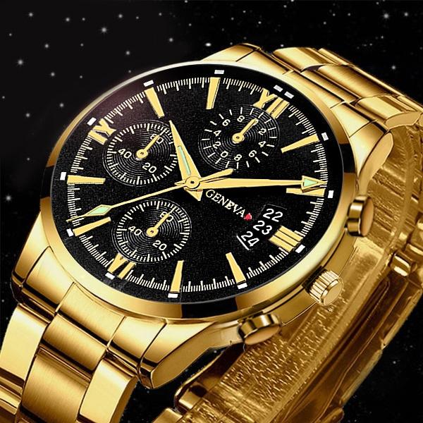 quartz, business watch, Waterproof, gold