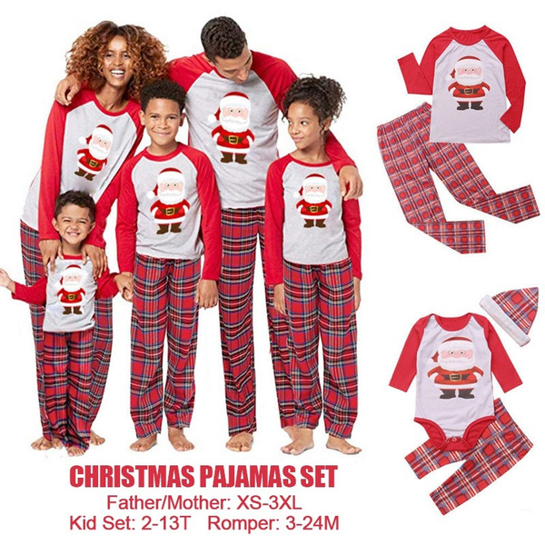 Xs 3xl Father Mother Family Matching Christmas Pajamas Pjs Sets Kids Adult Xmas Sleepwear Nightwear Clothing Family Casual Santa Clothes Set Wish