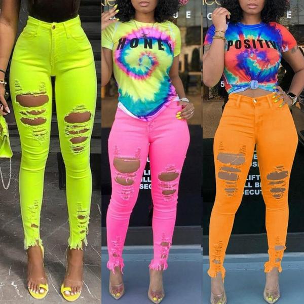 Women Pants, rippedhole, highrise, pants