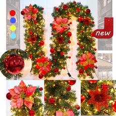 Door, Christmas, Garland, lights