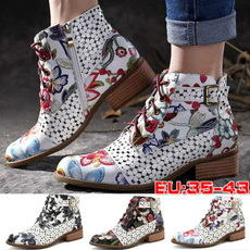 ankle boots, Plus Size, Leather Boots, Lace