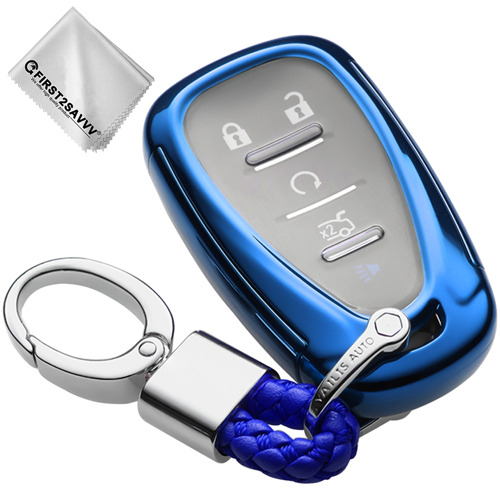 Carrus Blue Soft Smart Remote Key Case Cover Fob Compatible with 2016 2017 2018 Chevrolet Malibu Camaro Cruze Traverse Spark Sonic Volt Trax