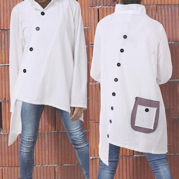 casual coat, Women, irregularhemcoat, Fashion