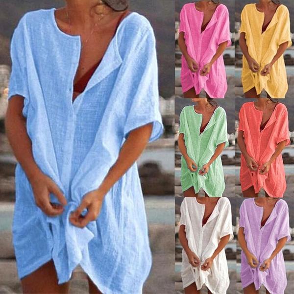 Summer, short sleeve dress, Deep V-neck Dress, Deep V-Neck