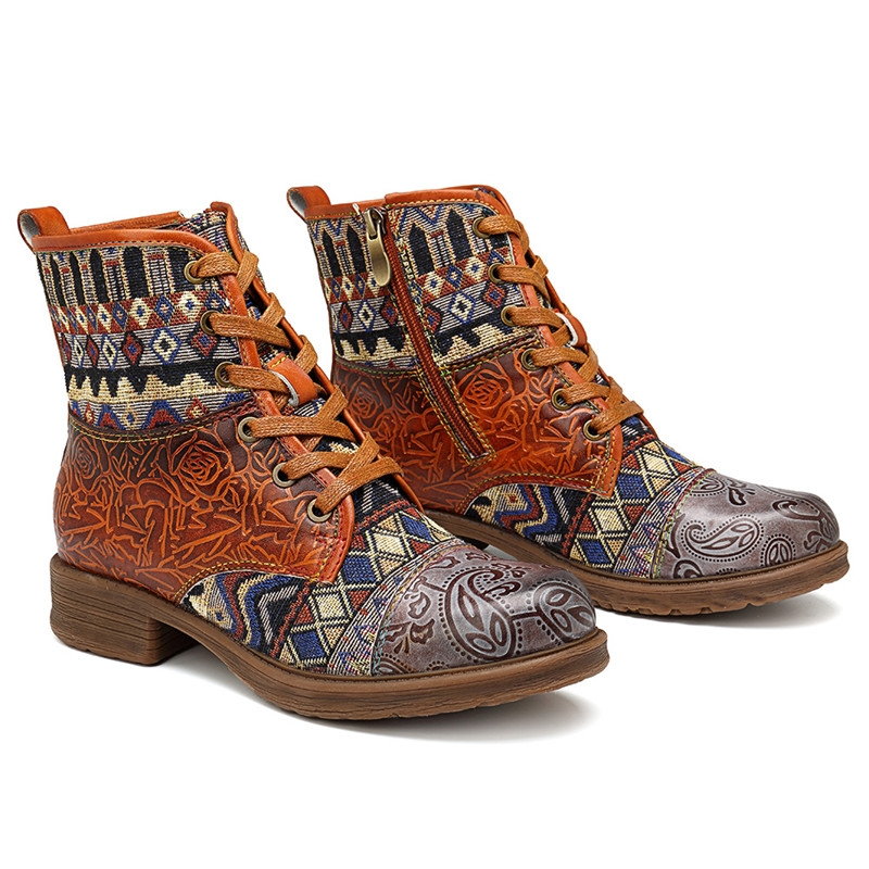 Womens Retro Real Leather Casual Ankle Boots Zippers Bohemia Style Floral Chic P