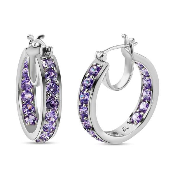 purple, pierce, Hoop Earring, Silver Earrings